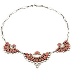 Native American Coral Sterling Silver Fan Necklace