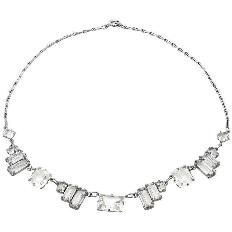 Art Deco Square Quartz Crystal Necklace For Sale
