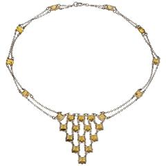 Art Deco 23 Dazzling Square Cut Citrines on Sterling Silver Chain Necklace