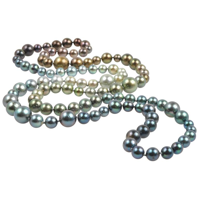 Long Tahitian South Sea Rainbow Pearl Necklace in Every Natural Color