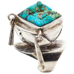 Eveli Sabatie Turquoise Mosaic Sterling Silver Native American Ring