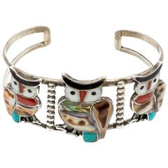 Sterling Silver Turquoise Shell Zuni Owl Cuff Bracelet