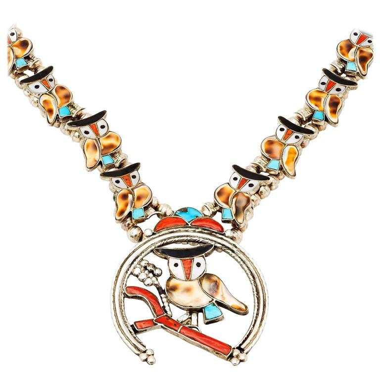 Zuni Sterling Silver Inlaid Owl Squash Blossom Style Necklace