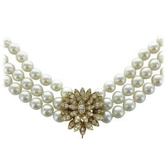 Cartier Diamond Pearl Gold Necklace