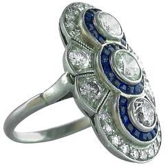 1930s French Art Deco Sapphire Diamond Platinum Ring