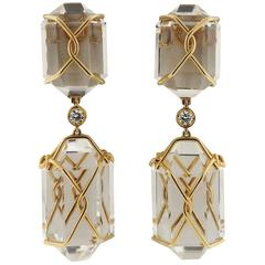 Verdura Herkimer Rock Crystal Diamond Gold Drop Earrings