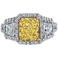2.03 Carat Fancy Yellow Diamond Gold Engagement Ring