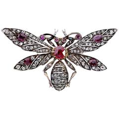 Amazing Antique Ruby and Diamond Handcrafted Bee Brooch Pin