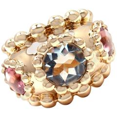Chanel Baroque Aquamarine Pink Tourmaline Yellow Gold Band Ring