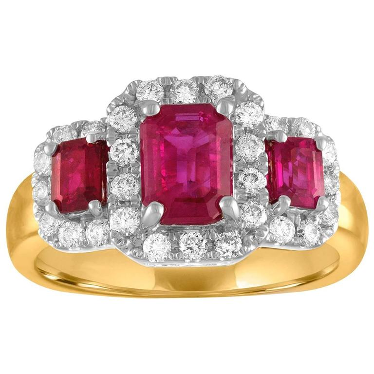 AGL & IGI Certified 1.75 Carat Diamond Gold Burma Ruby Three Stone Ring