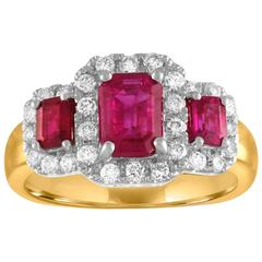 AGL & IGI Certified 1.15 Carat Burma Ruby Three-Stone Diamond Gold Ring