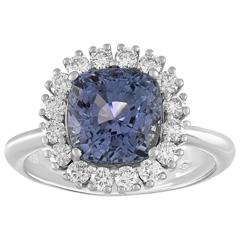 AGL Certified 3.97 Carat No Heat Cushion Blue Violet Sapphire Diamond Gold Ring For Sale