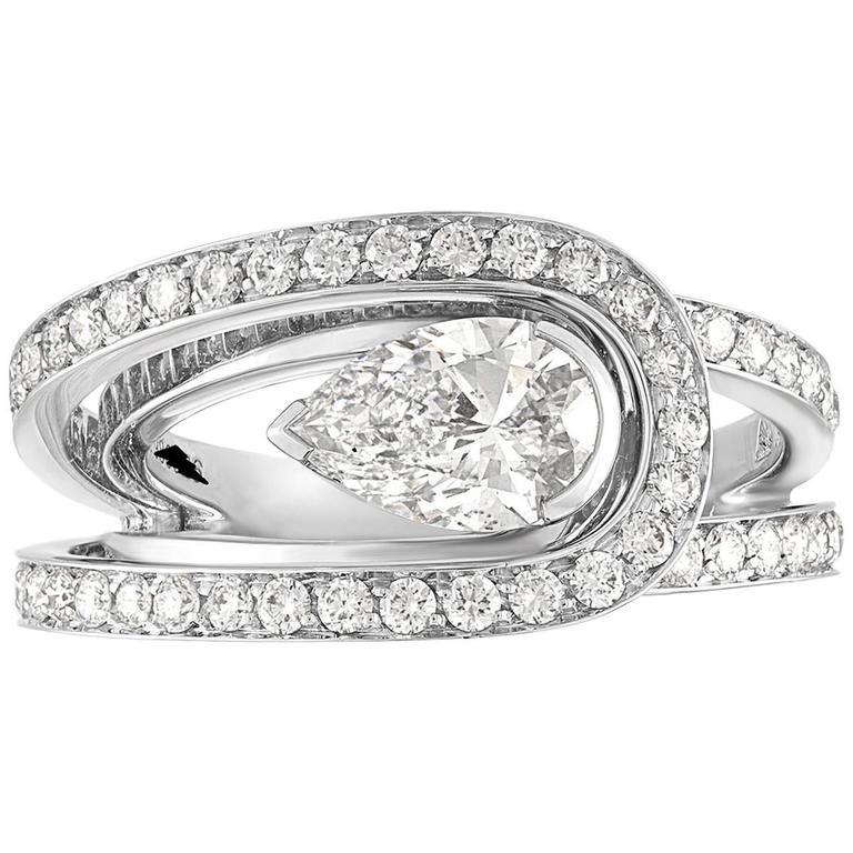 Fred of Paris GIA Certified 1.01 Carat E VVS1 Diamond Platinum Lovelight Ring