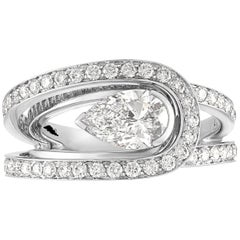 Fred of Paris GIA Certified 1.01 Carat E VVS1 Diamond Platinum Lovelight Ring