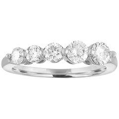0.70 Carat Diamond Five Stone Half Band Gold Graduating Ring