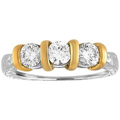 0.90 Carat Diamond Carved Filigree Design Three Stone Gold Ring