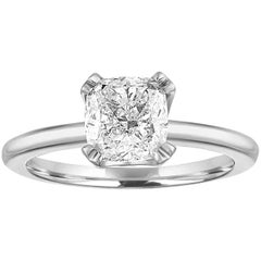 GIA Certified 1.70 Carat G VS1 Cushion Diamond Solitaire Gold Engagement Ring