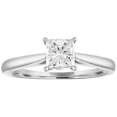 GIA Certified 0.73 Carat E VS2 Princess Diamond Solitaire Gold Engagement Ring
