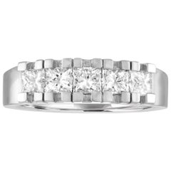 1.05 Carats Diamond Gold Five Stone Half Band Ring