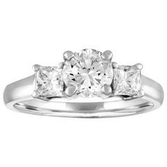 Three-Stone GIA Certified 0.90 Carat H VS2 Diamond Platinum Ring