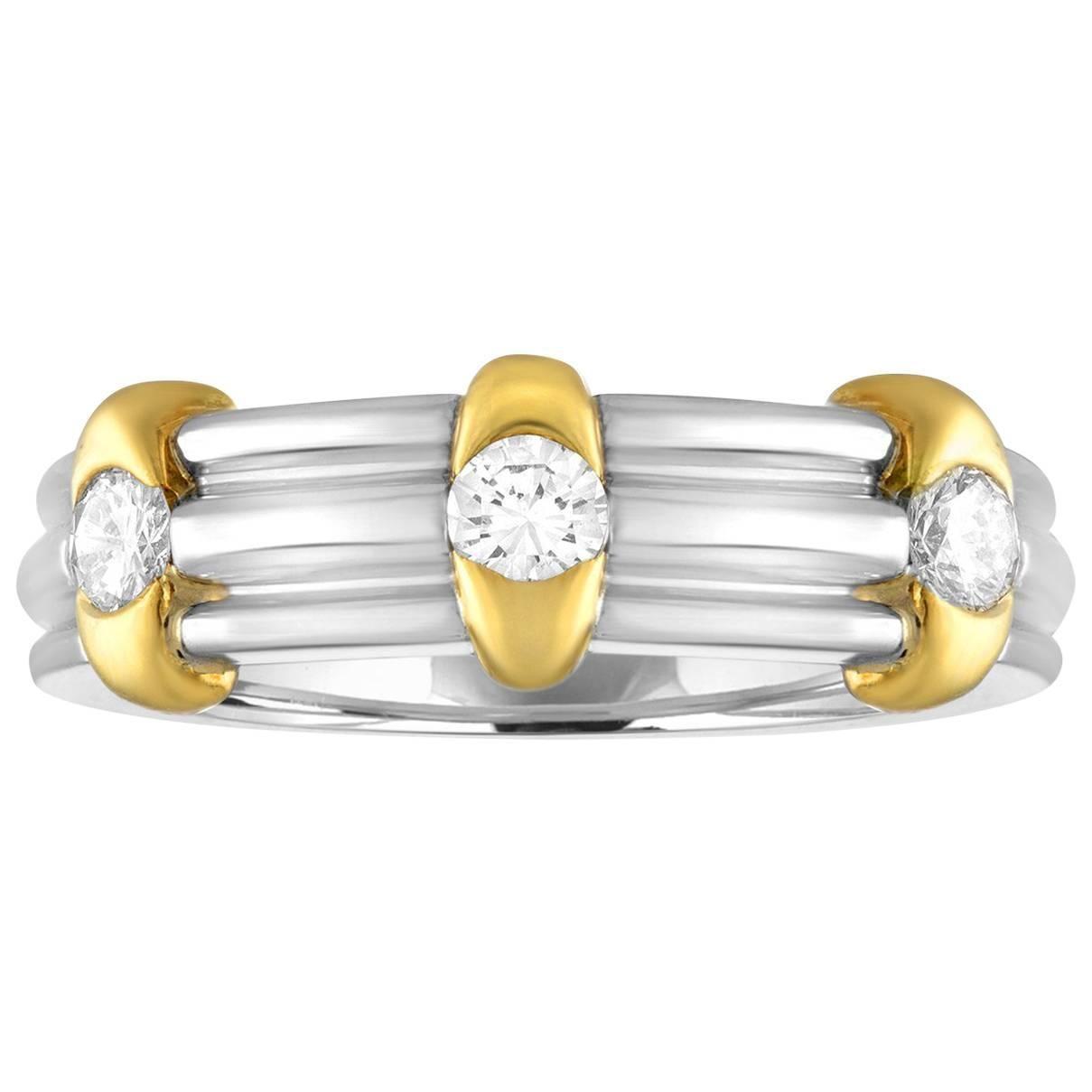 0.60 Carats Diamond Men's Platinum and Gold Wedding Band Ring