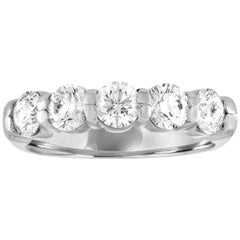 1.38 Carat Diamond Five Stone Platinum Half Band Ring