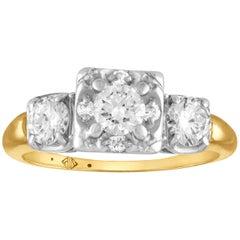 1.00 Carat Diamond Three Stone Gold Ring