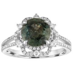 Certified No Heat 3.08 Carat Bluish Green Sapphire Diamond Gold Ring