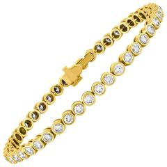 4.00 Carats Diamond Yellow Gold Tennis Bracelet