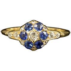 Antique Edwardian Sapphire Diamond Gold Ring 1911