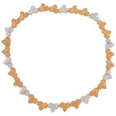 1980s Buccellati Diamond Bicolored Gold Leaves Necklace