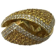 Yellow Sapphire Diamond Cocktail Ring
