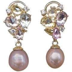Gorgeous Classic Pearl Sapphire Diamond Gold Drop Earrings