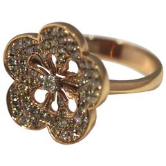 Rose Gold Diamond Encrusted Flower Ring