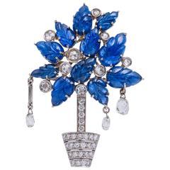 Briolette Sapphire Diamond Plant Pin