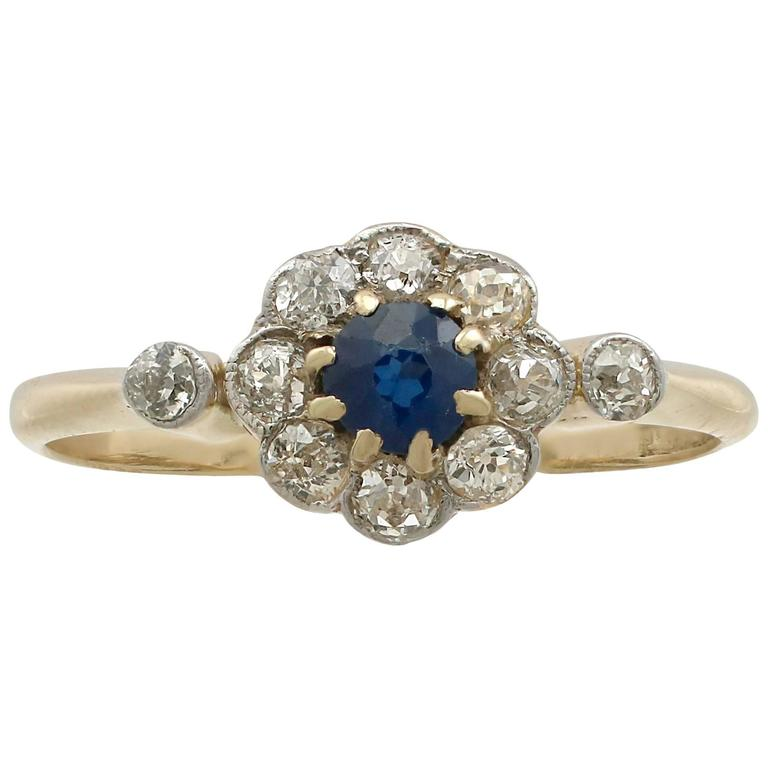 1920s Antique Sapphire Diamond Yellow Gold Ring