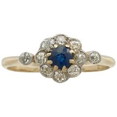 1920s Antique Sapphire Diamond Yellow Gold Ring
