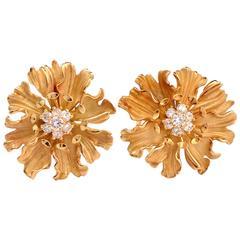 1990s Diamond Yellow Gold Flower Clip-On Earrings