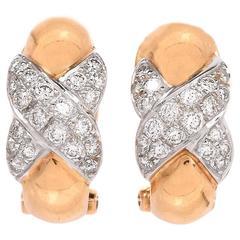 Diamond Gold Huggie Clip-On Earrings