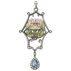 Enamel Pearl Sapphire Diamond Pendant Brooch