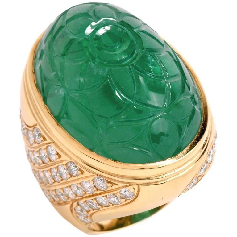 1970s Large Carved 78.46 Carat Emerald Diamond Cocktail Ring