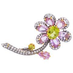 Pink Sapphire and Peridot Flower Pin