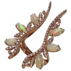 """Dafne"" Ring 18 Karat Gold, Diamonds, Ceramic/Opals"