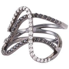Paige Novick Three Row Curved Blackened Gold Ring with Black&White Diamond Pav