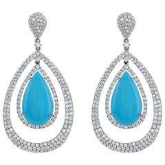 Turquoise Diamond Pave Hanging Earrings