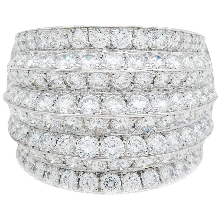 Van Cleef & Arpels Diamond White Gold Cocktail Ring For Sale
