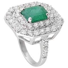 Emerald Diamond White Gold Cocktail Ring