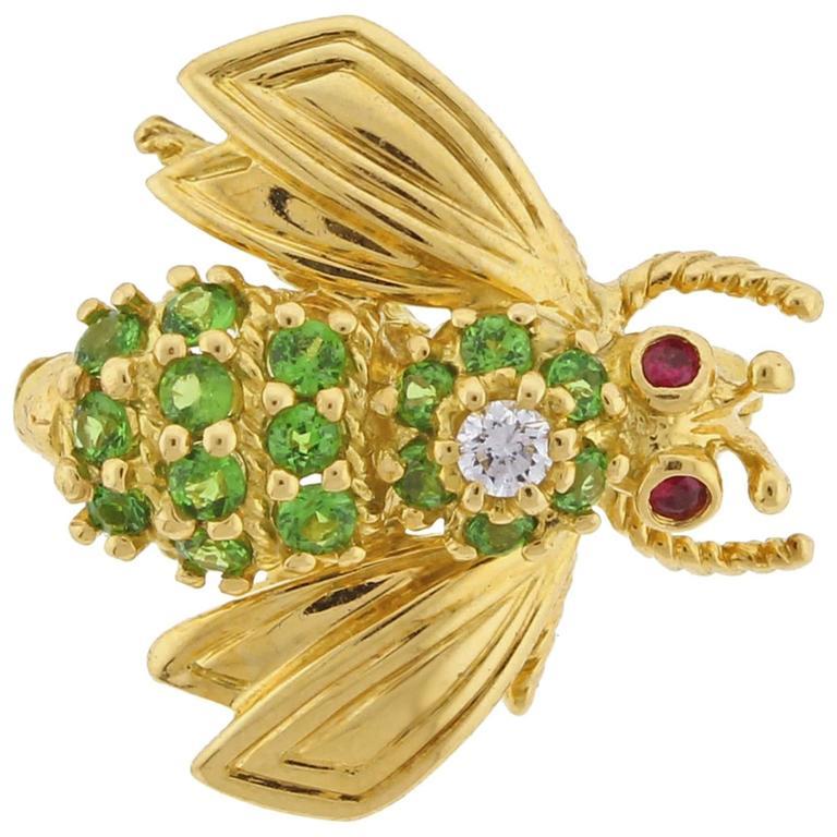 Tiffany & Co. Tsavorite Diamond Yellow Gold Brooch