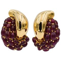 Seaman Schepps Yellow Gold and Ruby Earrings