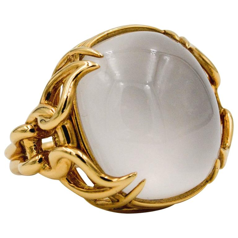 Seaman Schepps Quartz Cabochon 18 Karat Yellow Gold Ring For Sale